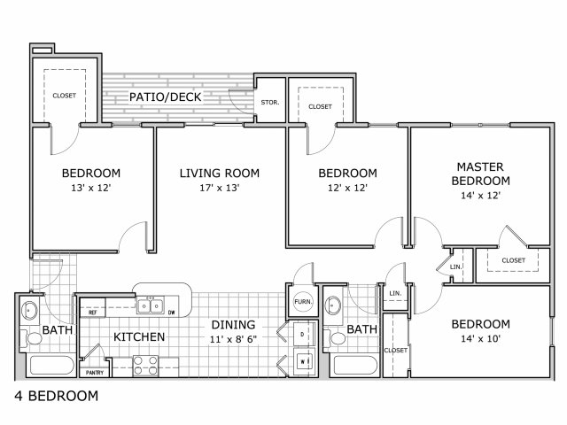 floor plan image of 4 bedroom apartment home at Coryell Crossing