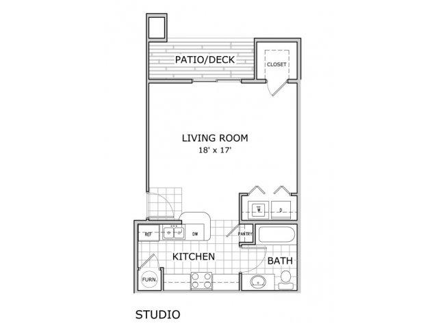 floor plan image of studio apartment home at Coryell Crossing