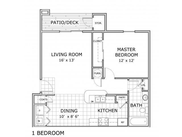 floor plan for 1 bedroom apartment at Battlefield Park in Springfield, MO
