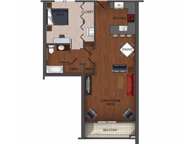 1 bedroom apartment home floor plan at Township 28