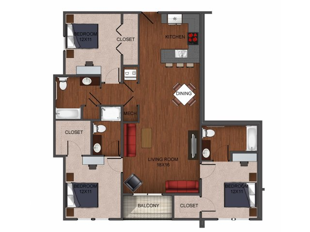 3 bedroom apartment home at Township 28