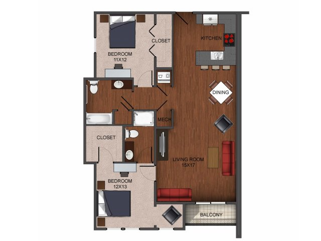 2 bedroom apartment home floor plan at Township 28