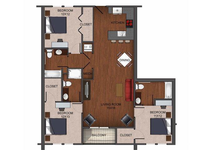floor plan image of 3 bedroom apartment home image