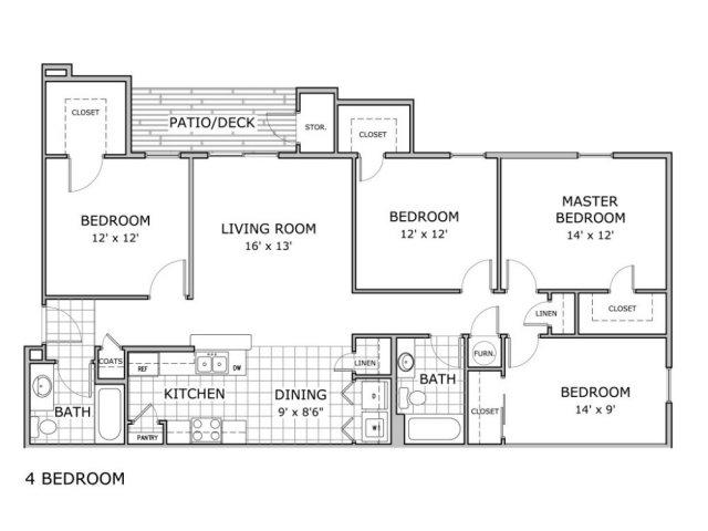 Floor plan image of 4 bedroom apartment