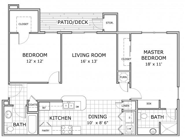 Sherwood Village 2 bedroom floor plan