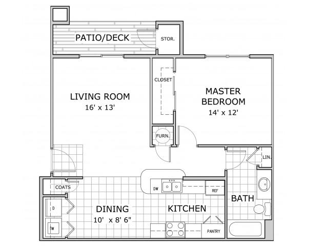 Sherwood Villlage 1 Bedroom floor plan