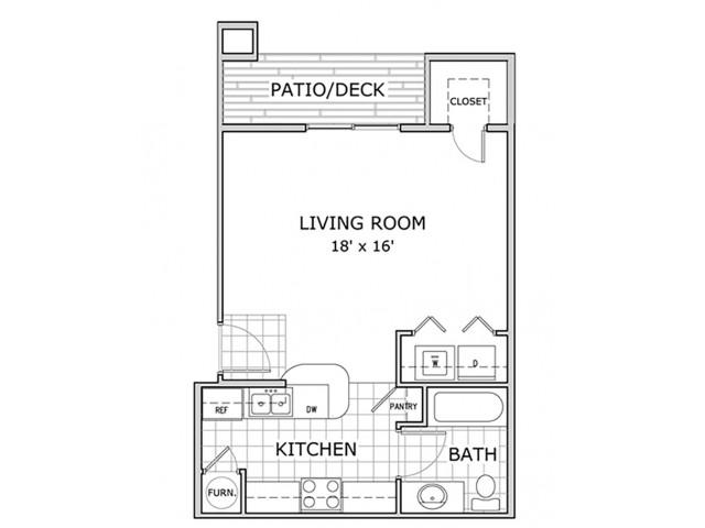 Sherwood Village studio floor plan image