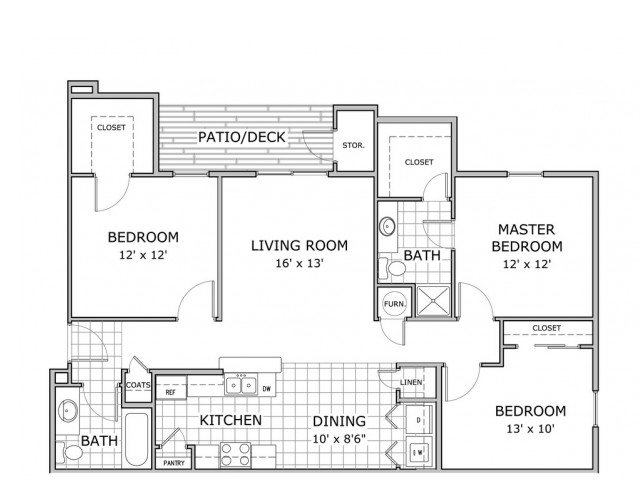floor plan image of 3 bedroom furnished apartment home at Orchard Park