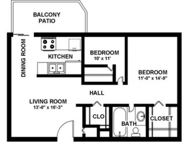 2 Bedroom 1 Bath  - 900 sf