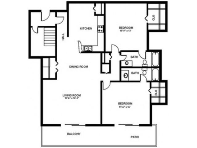 2 Bedroom 2 Bath - 1090 sf