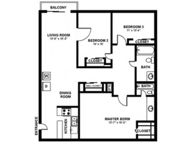 3 Bedroom 2 Bath - 1120 sf