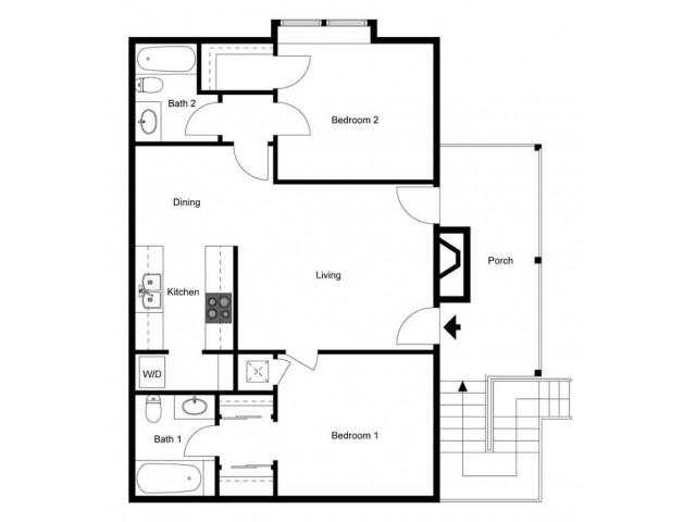 Two Bedroom Two Bath, ground floor