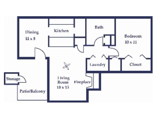 One Bedroom/One Bathroom Cypress Floorplan