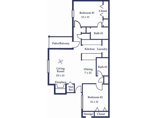 Two Bedroom/Two Bathroom Azalea