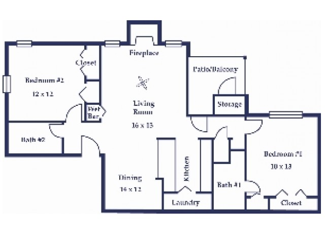 Two Bedroom/Two Bathroom Willow