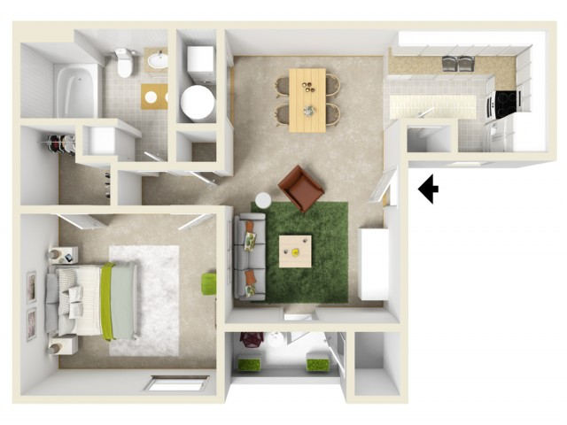 1 bedroom apartment withlarge walk in closet and private patio.