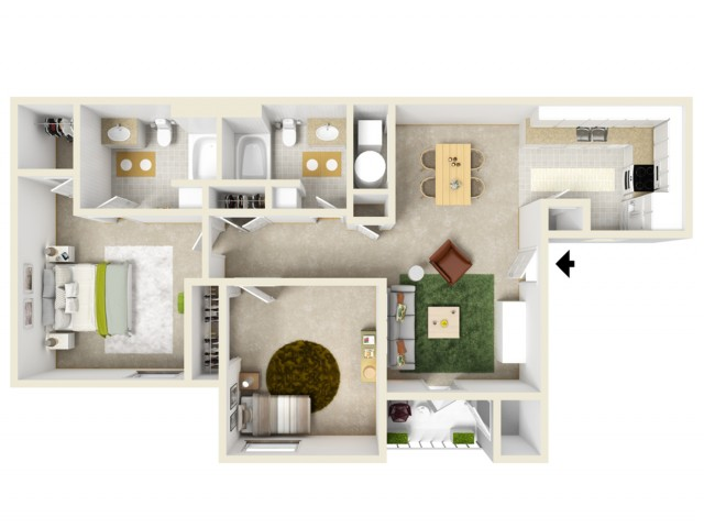 2 bedroom/2 bath apartment with a spacious master suite and lots of additional closet space.