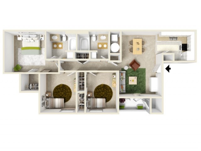 Three bedrooms with a spacious master suite and plenty of storage space!