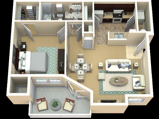 Prairiefire Crabapple Floor Plan | The Woods at Cherry Creek Apartments in Overland Park, KS