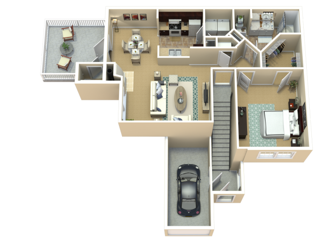 Cherry Blossom Floor Plan | The Woods at Cherry Creek Apartments in Overland Park, KS
