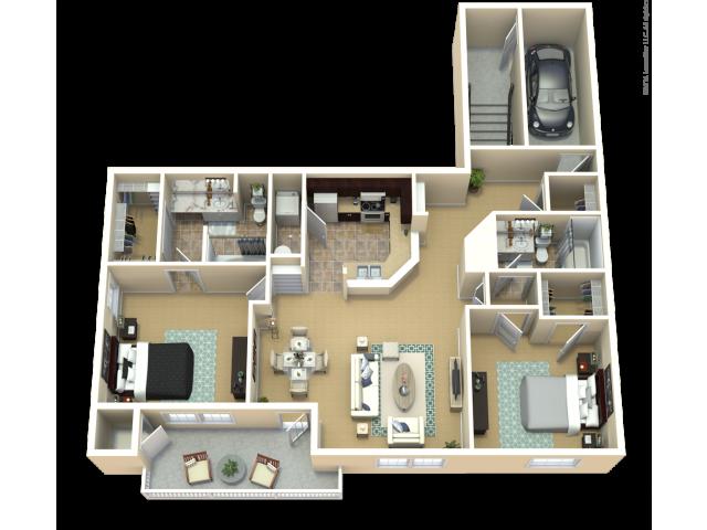Autumn Purple Ash Floor Plan | The Woods at Cherry Creek Apartments in Overland Park, KS