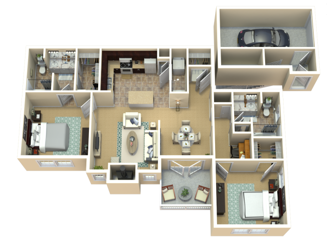Red Sunset Maple Floor Plan | The Woods at Cherry Creek Apartments in Overland Park, KS