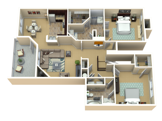 Colorado Blue Spruce Floor Plan | The Woods at Cherry Creek Apartments in Overland Park, KS