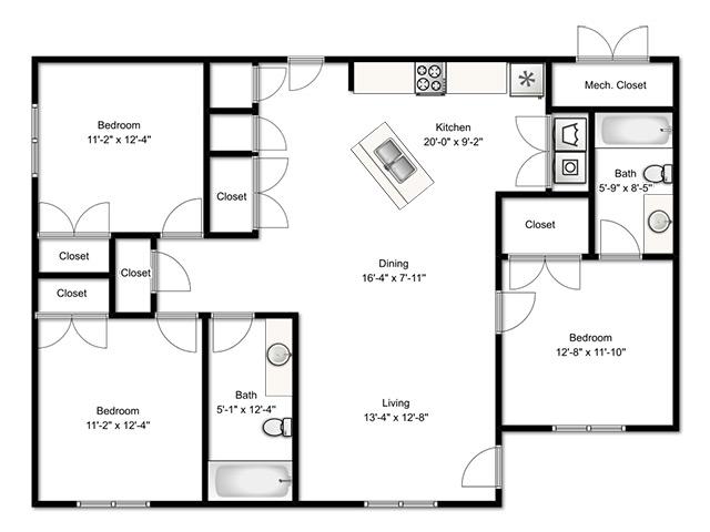 3 Bedroom Apartment 3 Bed Apartment Logan Gateway Apartments