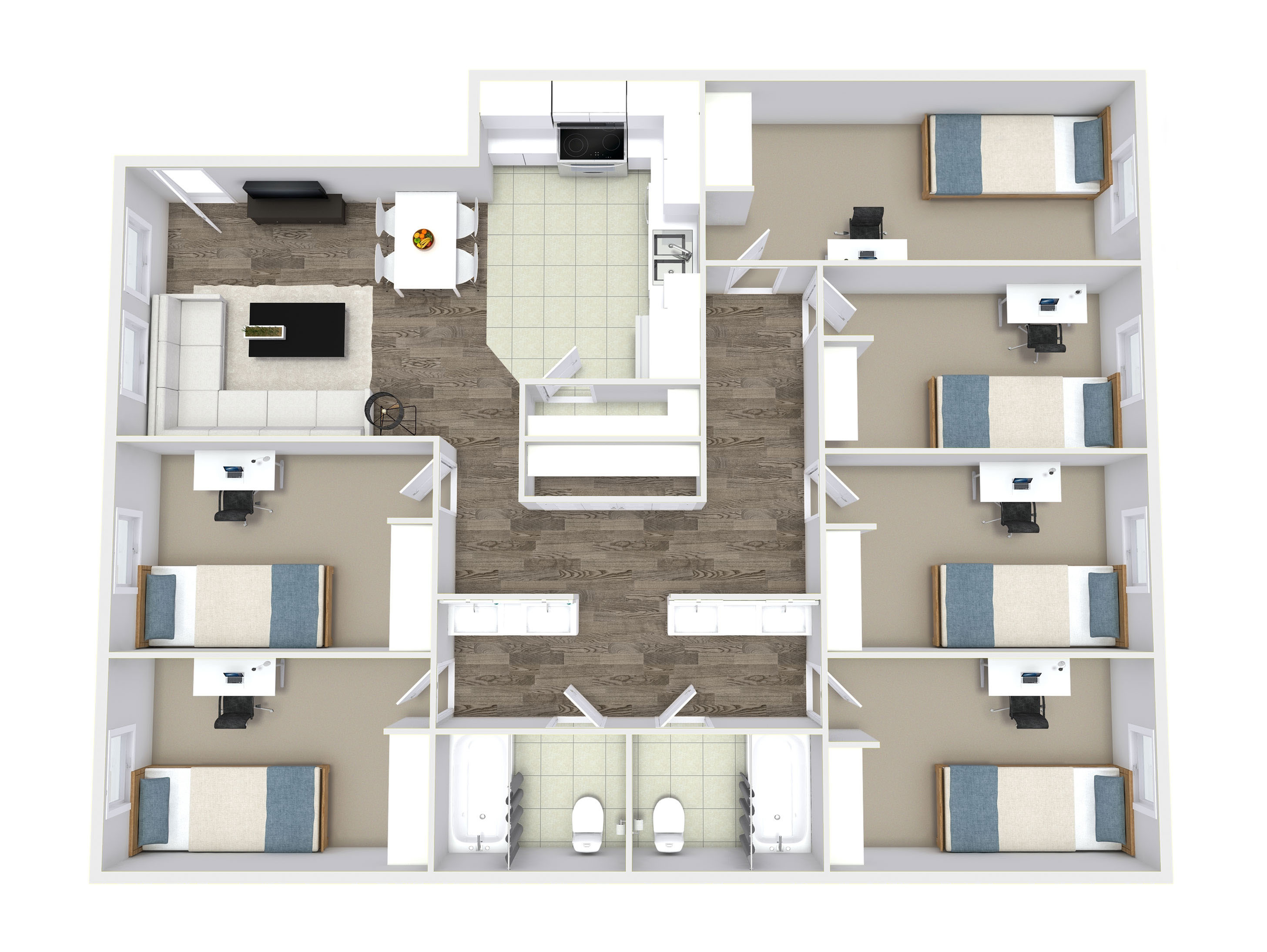 6 Bed - Private Rooms
