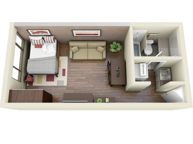 Pocket Kitchen 3D Floor Plan