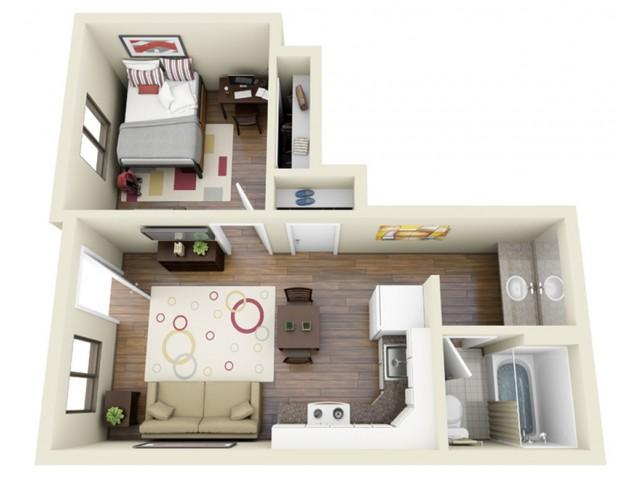 One Bedroom 3D Floor Plan