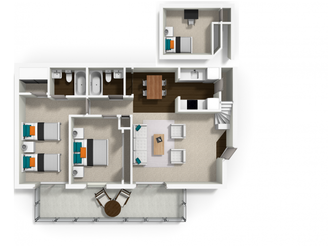 For The Two Bedroom With Bonus Open Loft Floor Plan.