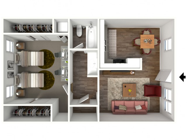 The Berkeley (1X1) 3D Furnished