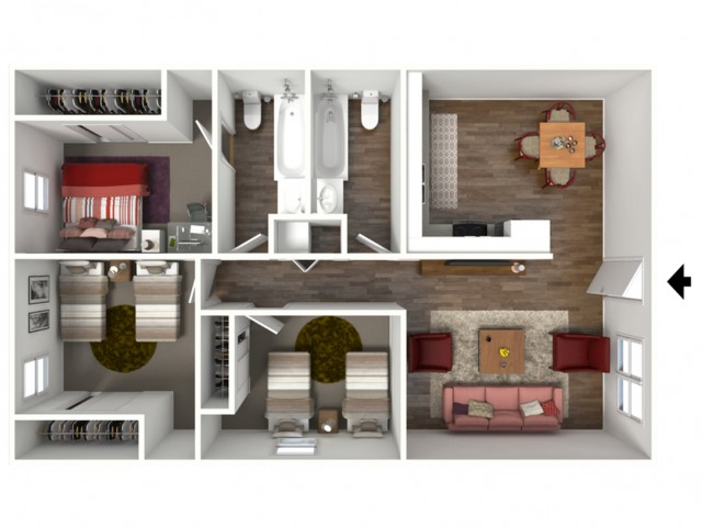 The Stanford (3X2) 3D Furnished