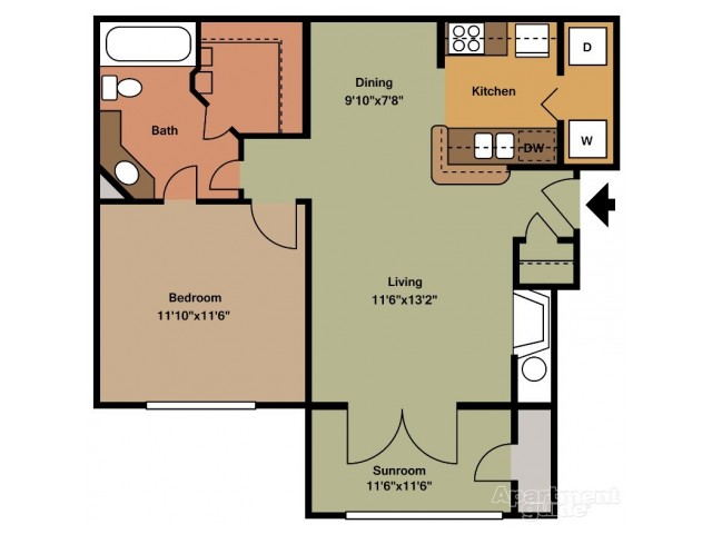 A4 One Bedroom/One Bath with Sunroom