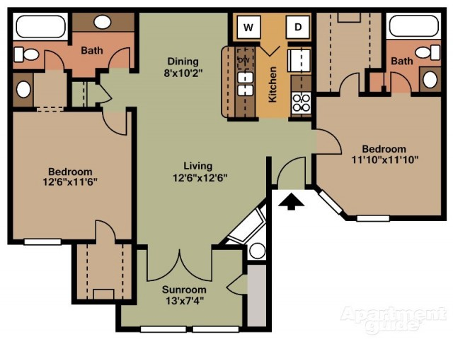 B5 Two Bedroom/Two Bath with Sunroom