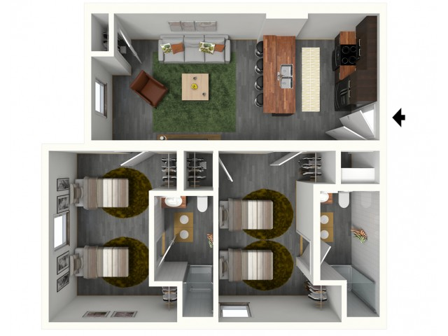 2 Bedroom 2 Bathroom w/ Shared Bedrooms (*Artist\'s Rendering)