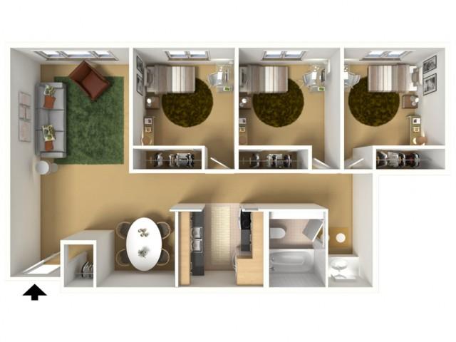 3 Bedroom x 1 Bathroom (Private Bedrooms)