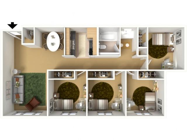 4 Bedroom x 1 Bathroom (Private Bedrooms)