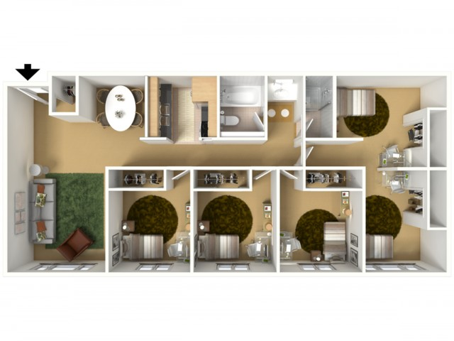 5 Bedroom x 1 Bathroom (3 Private Bedrooms & 1 Shared Bedroom)