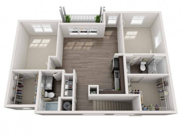 Two Bedroom / Two Bath Carriage House (Attached Garage) - 1071 Sq Ft