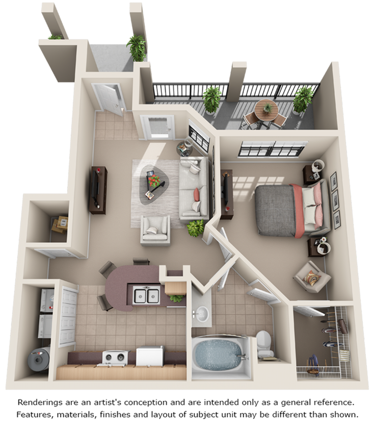 Appaloosa 1 bedroom 1 bathroom floor plan