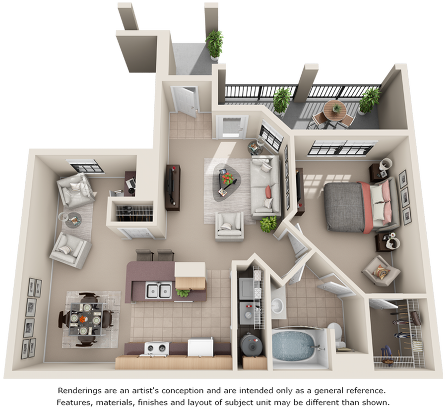 Arabian 1 bedroom 1 bathroom floor plan