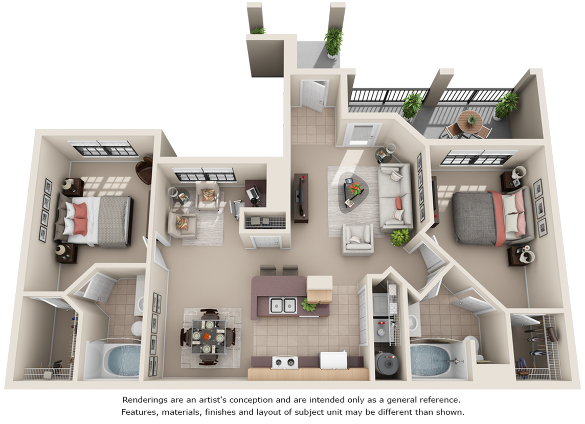 Mustang 2 bedrooms 2 bathrooms floor plan