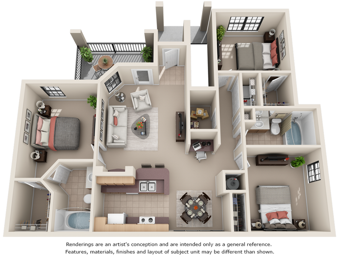 Paso Fino 3 bedrooms 2 bathrooms floor plan