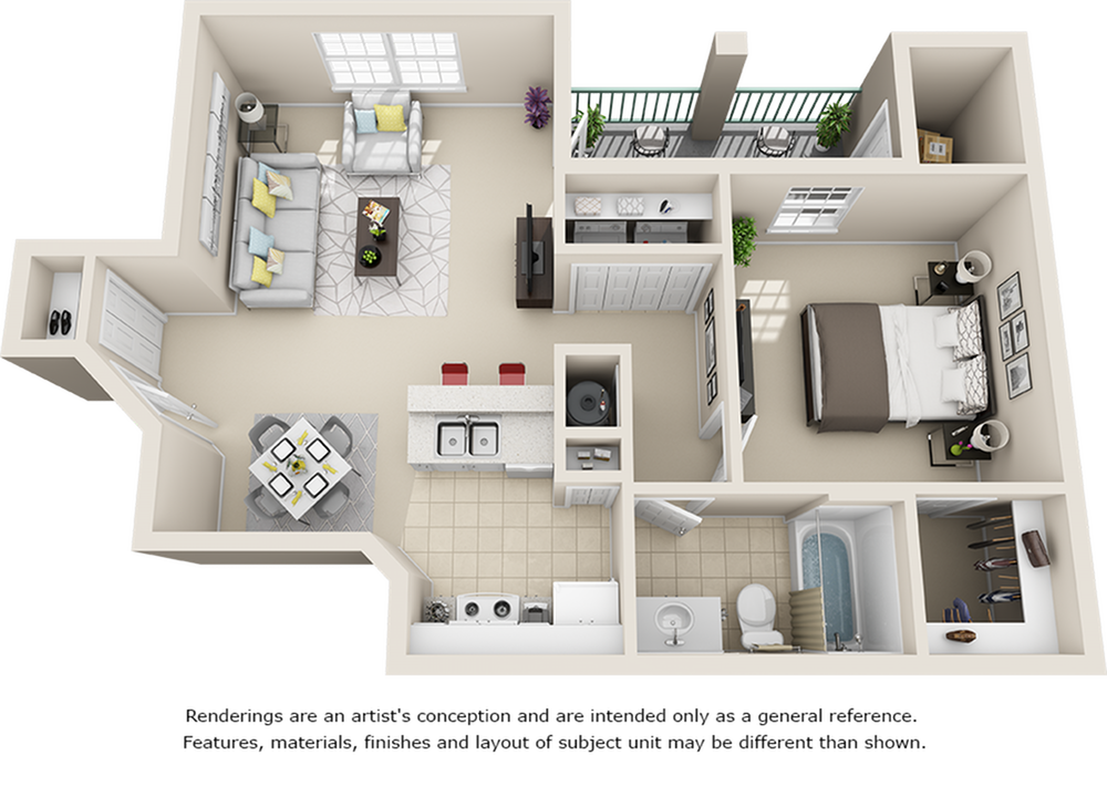 Roma 1 bedroom 1 bathroom floor plan