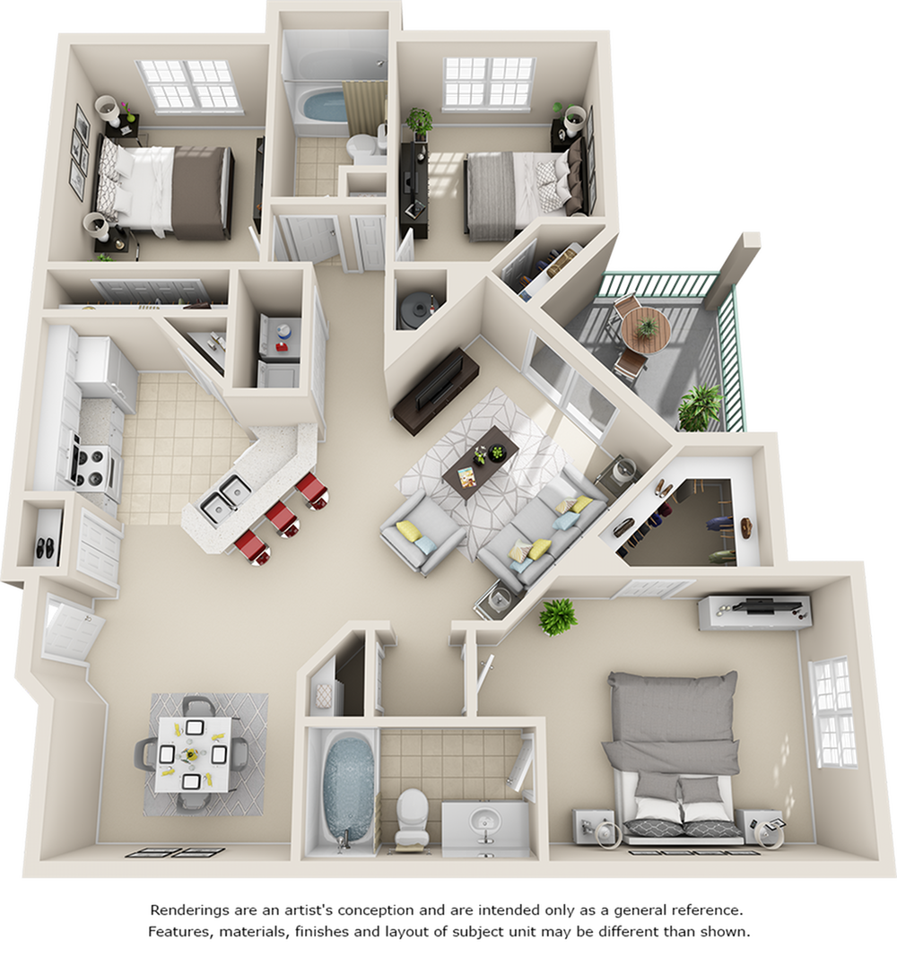 Venezia 3 bedrooms 2 bathrooms floor plan