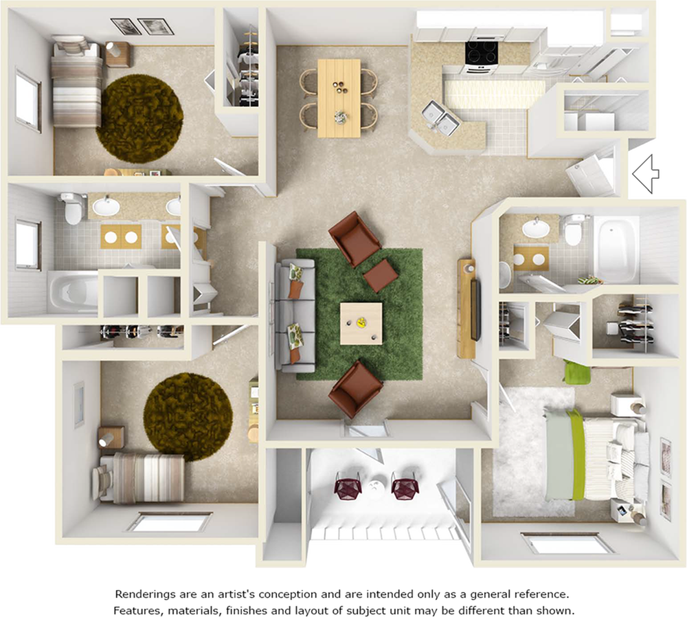Evergreen 3 bedrooms 2 bathrooms floor plan