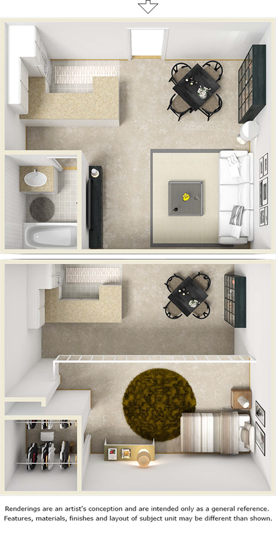 Edison floor plan with 1 bedroom, 1 bathroom, enhanced finishes, and wood style floors