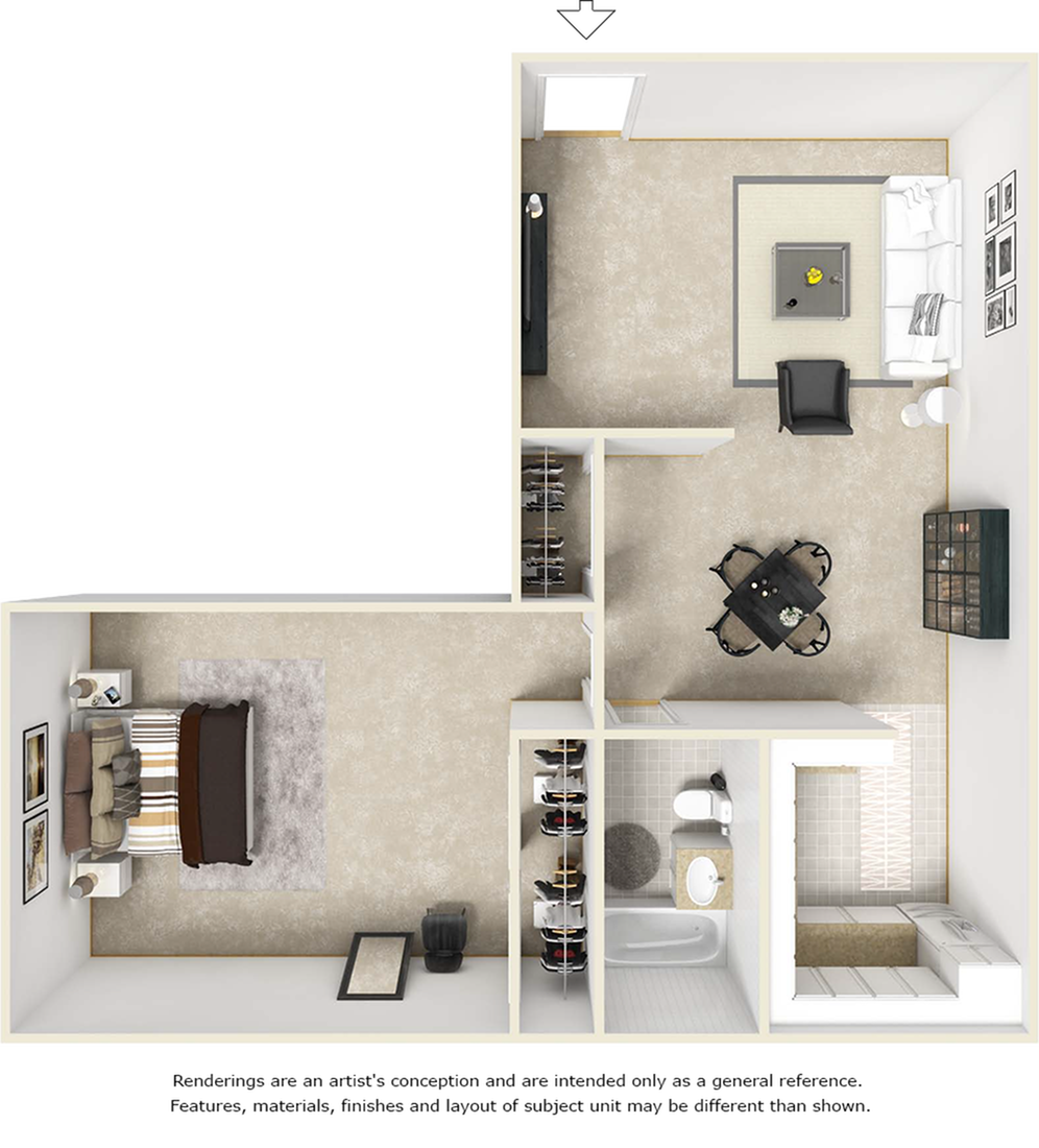 Delano floor plan with 1 bedroom, 1 bathroom, enhanced finishes and wood style floors